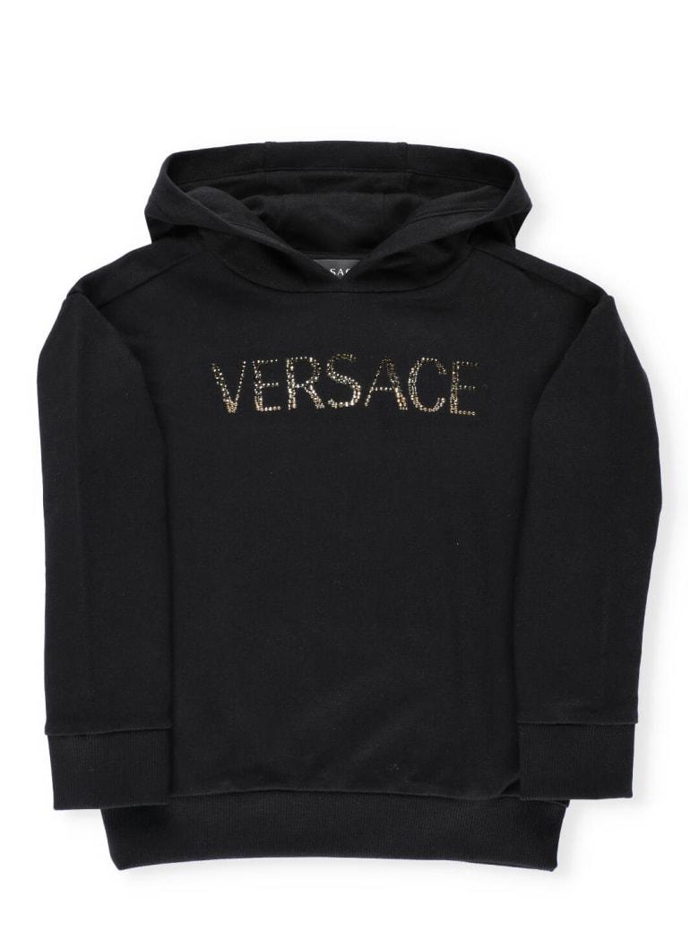 Versace Logo Hoodie - Nero+Oro+Crystal