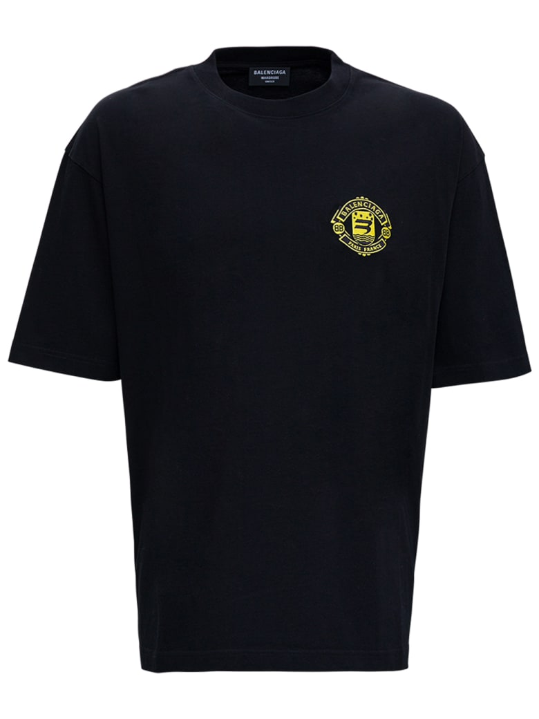 Balenciaga Black Organic Cotton T-shirt With Logo - Black