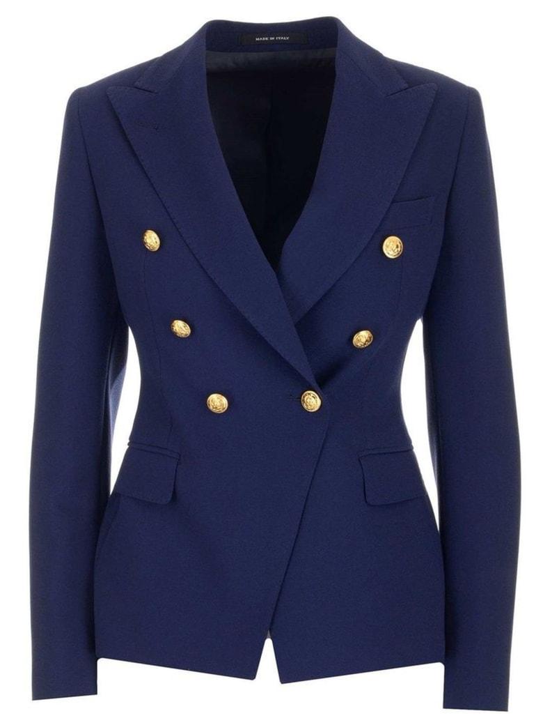 Tagliatore Double-breasted Blue Blazer - Blu