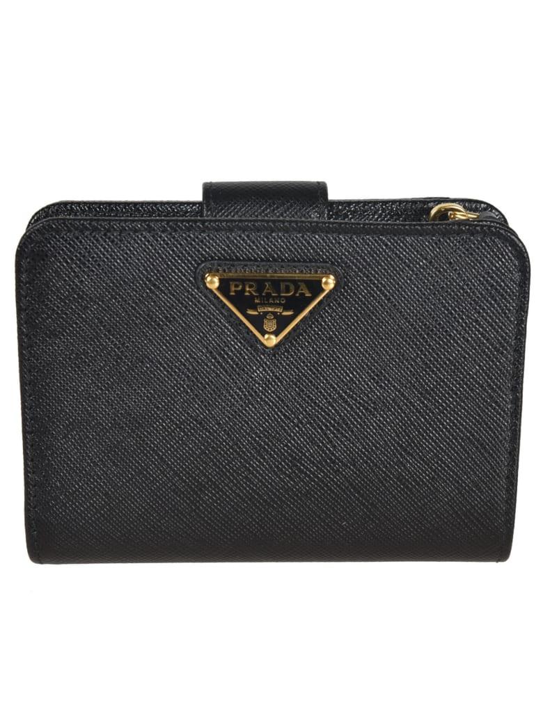 Prada Logo Plaque Wallet - Black