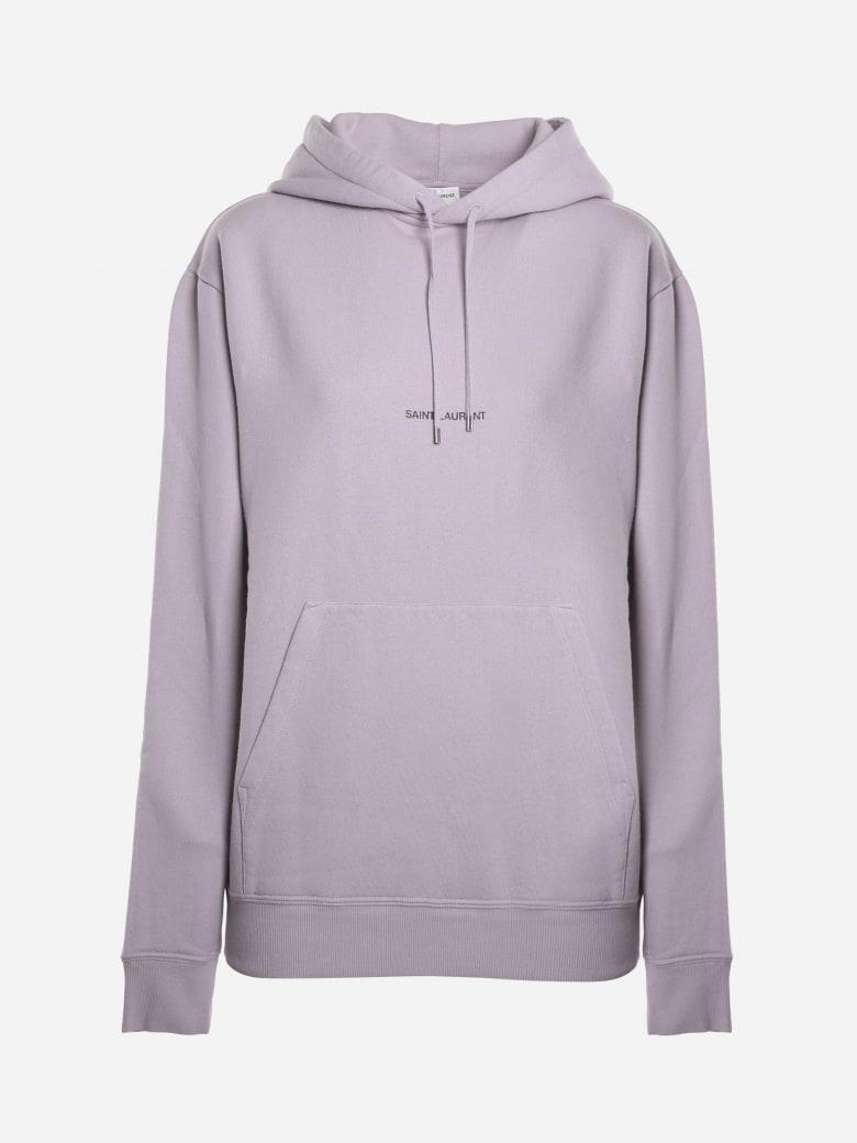 Saint Laurent Cotton Sweatshirt With Logo Print - Lilac