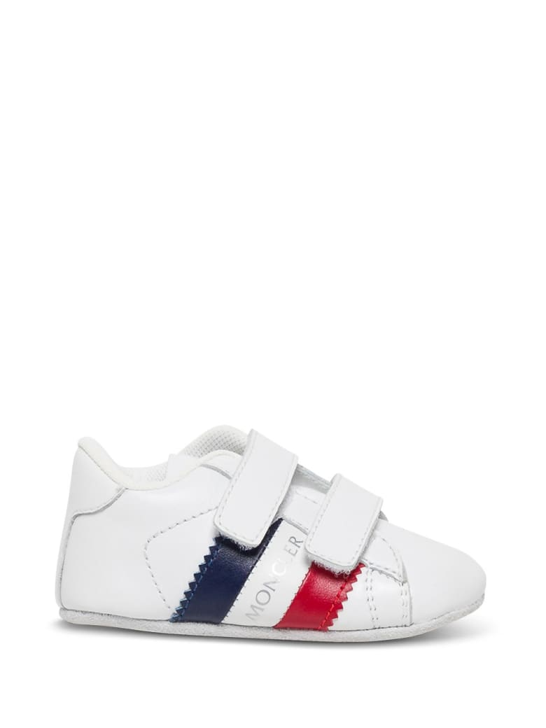 Moncler Leather Crib Sneakers  With Logo - White