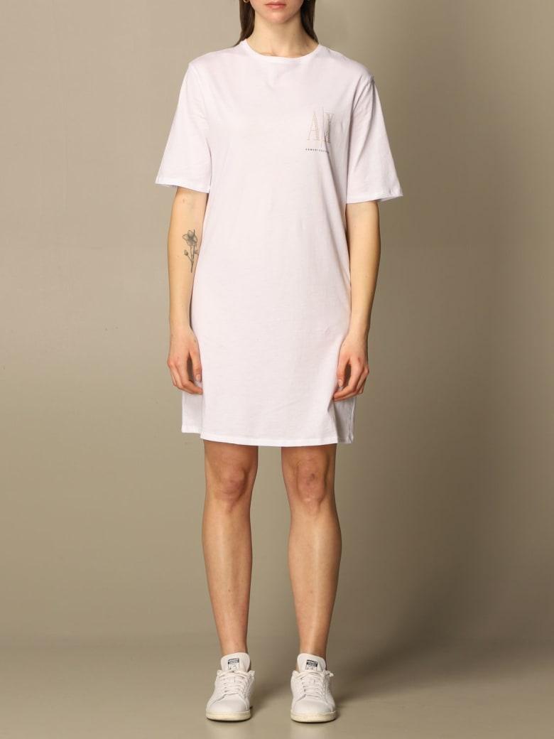 Armani Collezioni Armani Exchange Dress Armani Exchange Short Dress With Logo - White