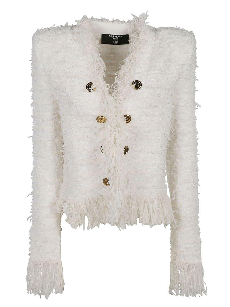 Balmain Fringe Trimmed Button Embellished Cardigan - Bianco