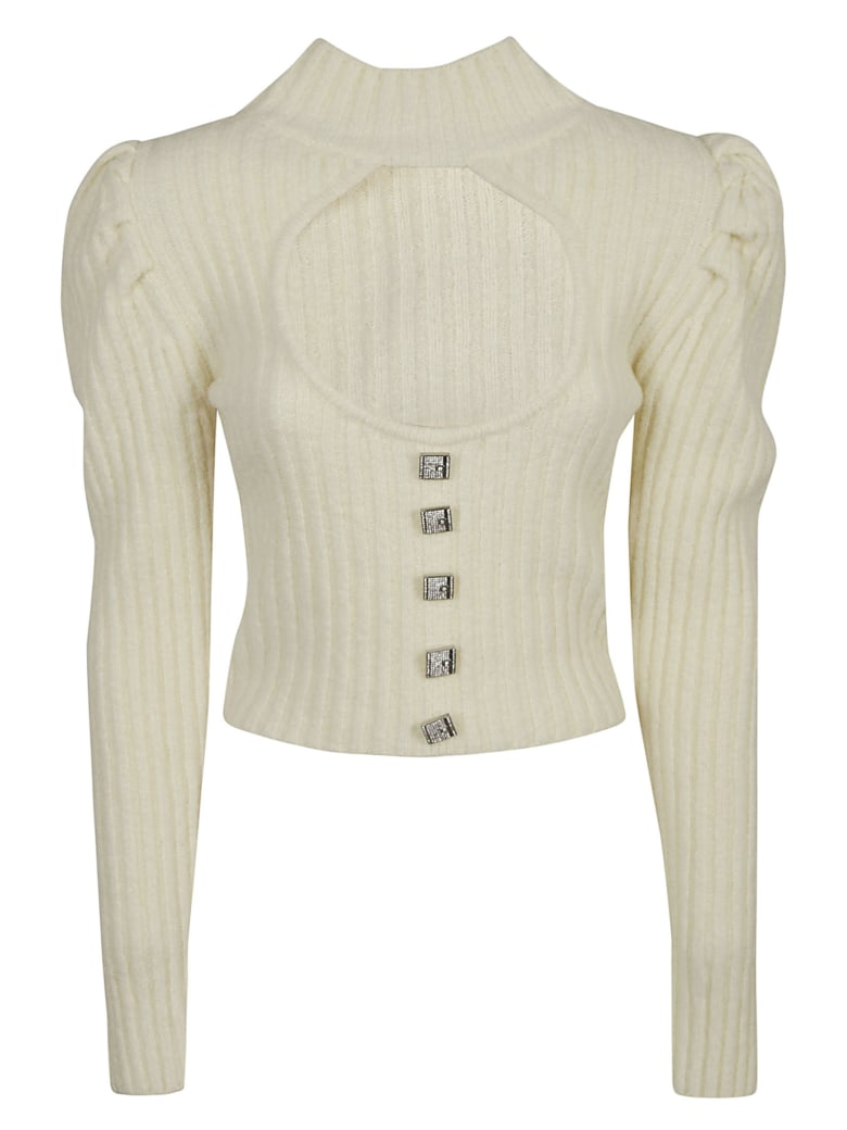 Giuseppe di Morabito Ribbed Knit Cropped Jumper - White
