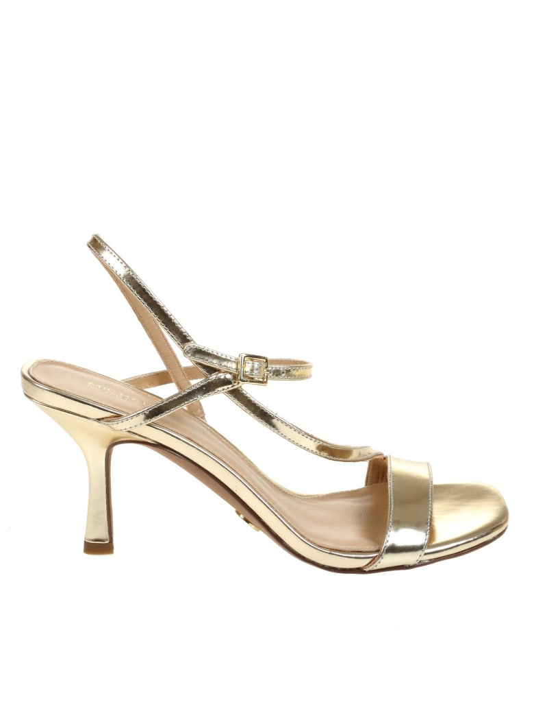 Michael Kors Tasha Sandal In Laminated Leather - Oro