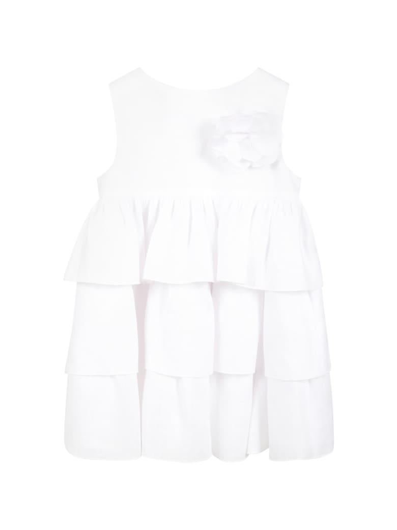 Little Bear White Dress For Baby Girl - White