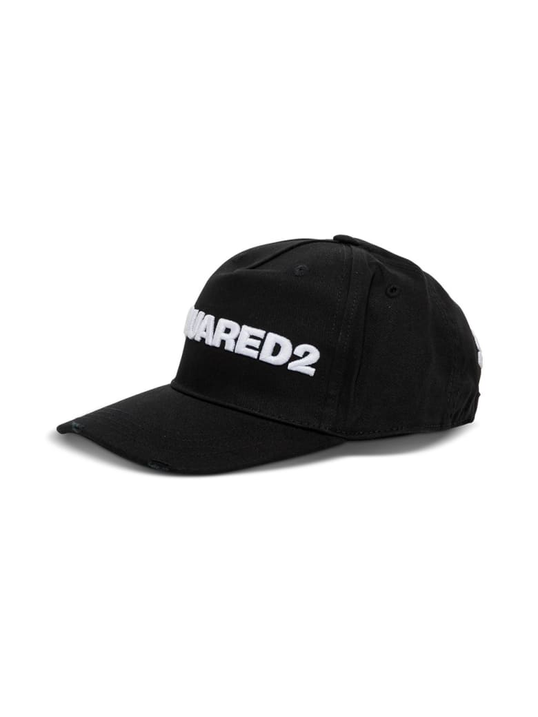 Dsquared2 Cotton Hat With Contrasting Logo - White/black