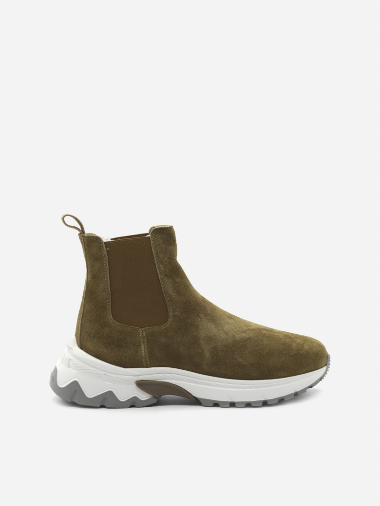 Eleventy Chunky Ankle Boots Made Of Suede - Camel