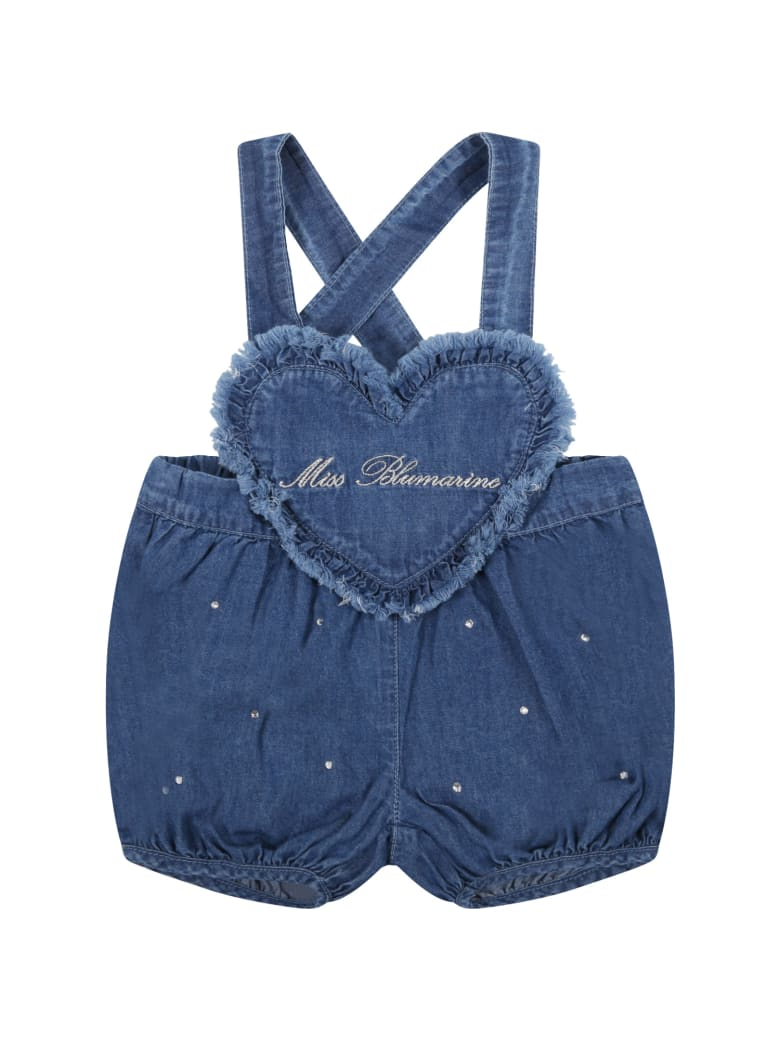 Blumarine Blue Dungarees For Baby Girl With Logo - Denim