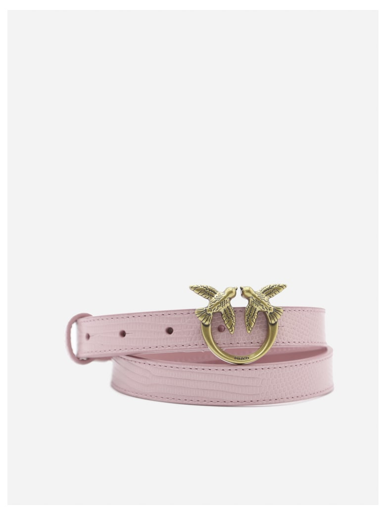 Pinko Leather Belt With Love Birds Buckle - Pink