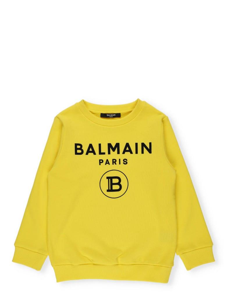 Balmain Cotton Sweatshirt - Giallo/nero