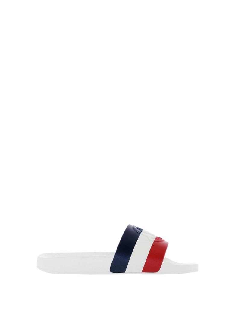 Moncler Moncler Logo Embossed Slides - WHITE