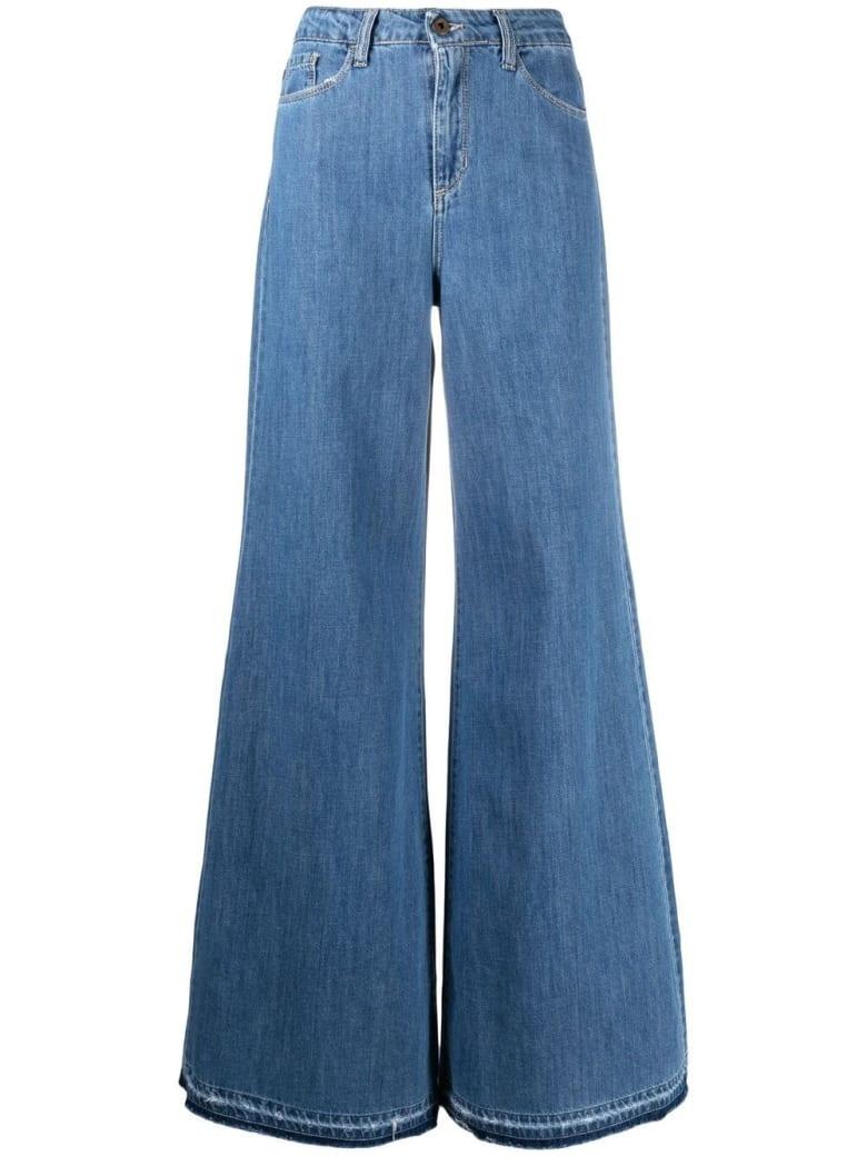 Merci Wide Jeans In Five Pockets Denim - Blu