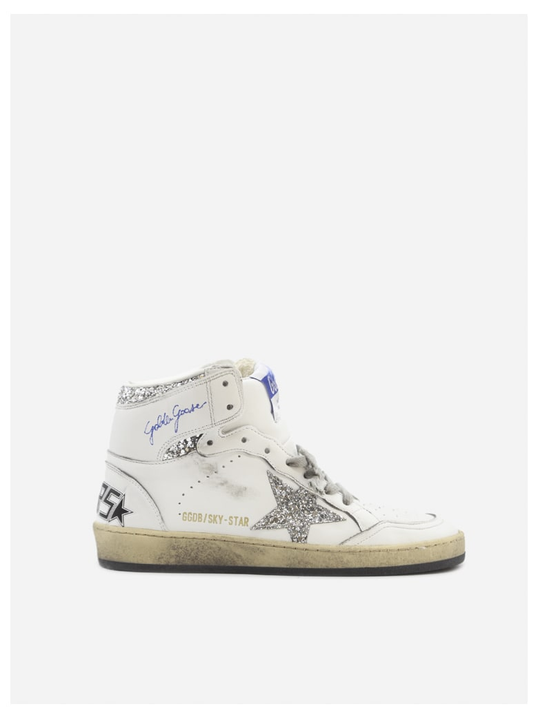 Golden Goose Sky-star Sneakers In Leather With Glitter Inserts - White