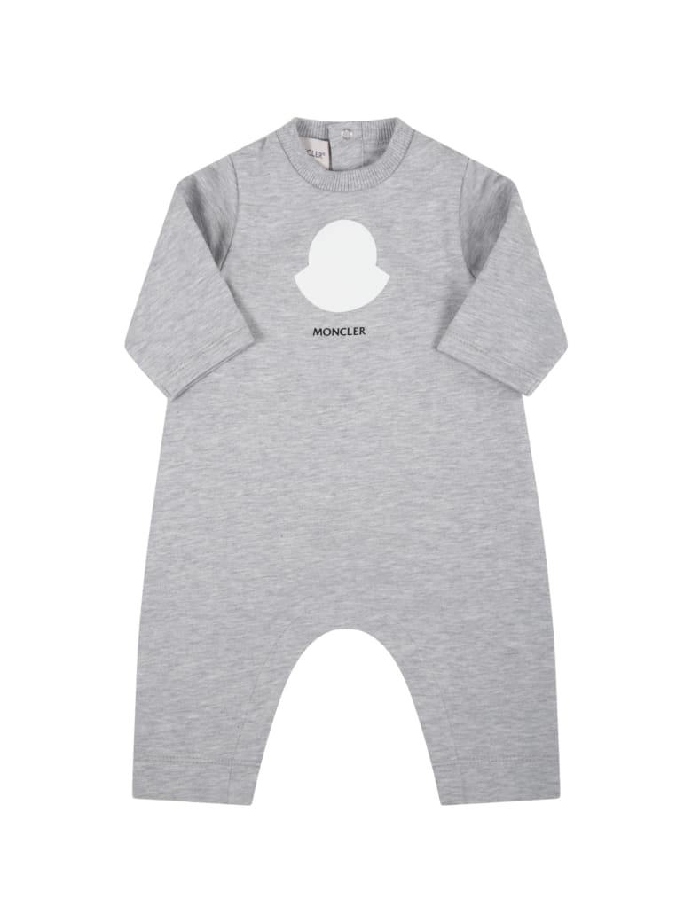 Moncler Grey Babygrow For Baby Kids With Logo - Grey