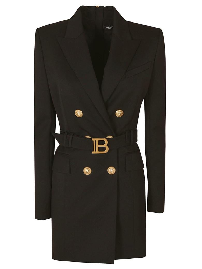 Balmain Rear Zip Belted Waist Blazer Dress - Black