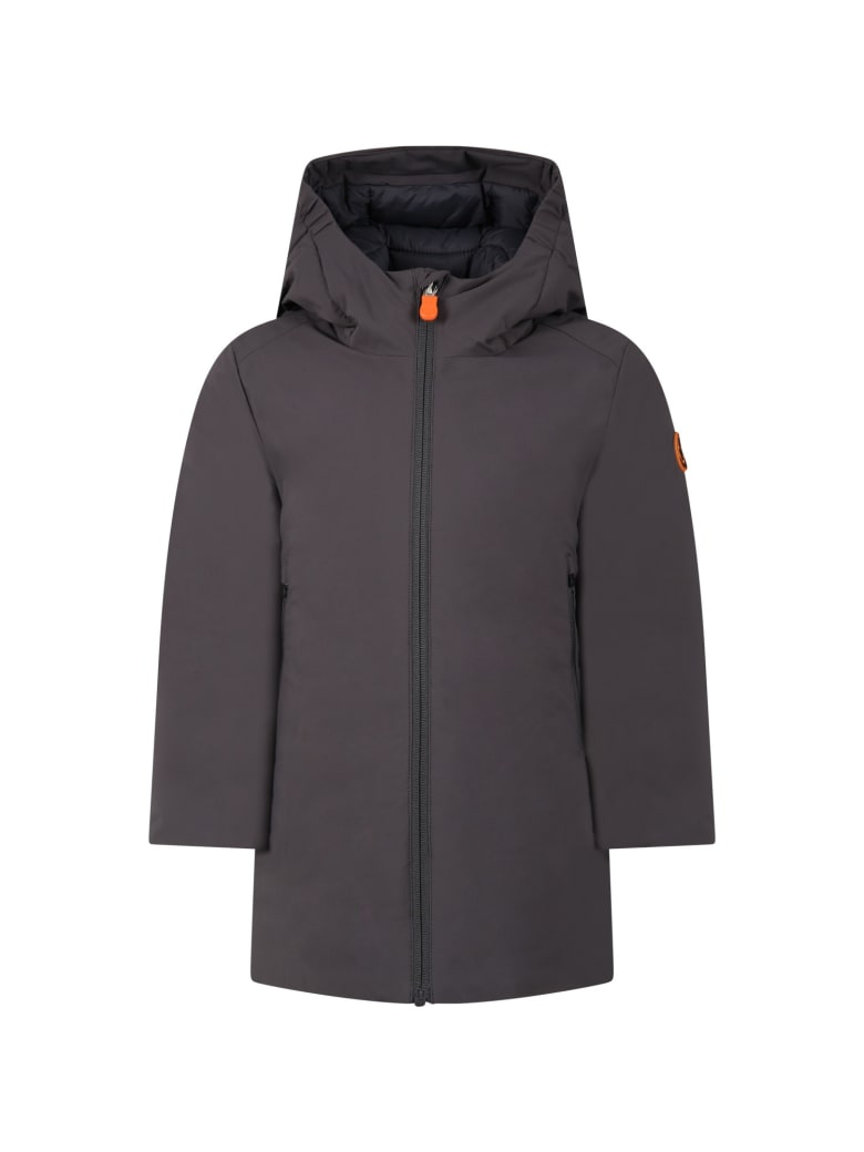 Save the Duck Grey Jacket For Boy With Iconic Logo - Grey