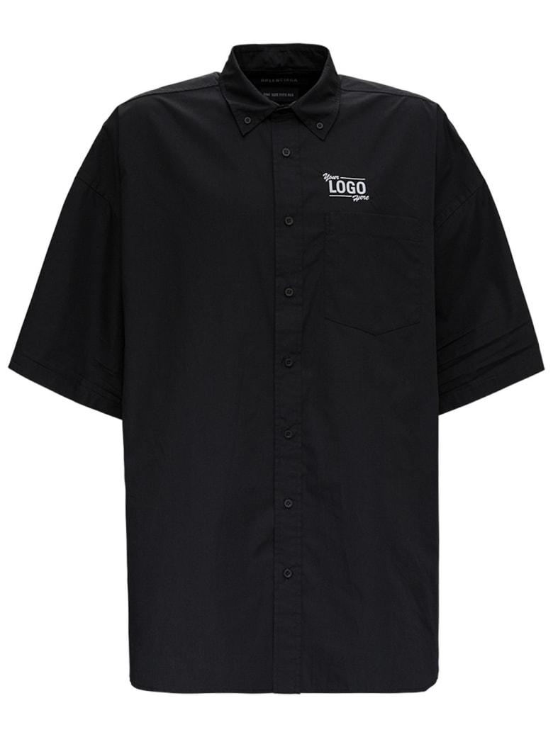 Balenciaga Black Your Logo Here Short Sleeve Poplin Shirt - Black