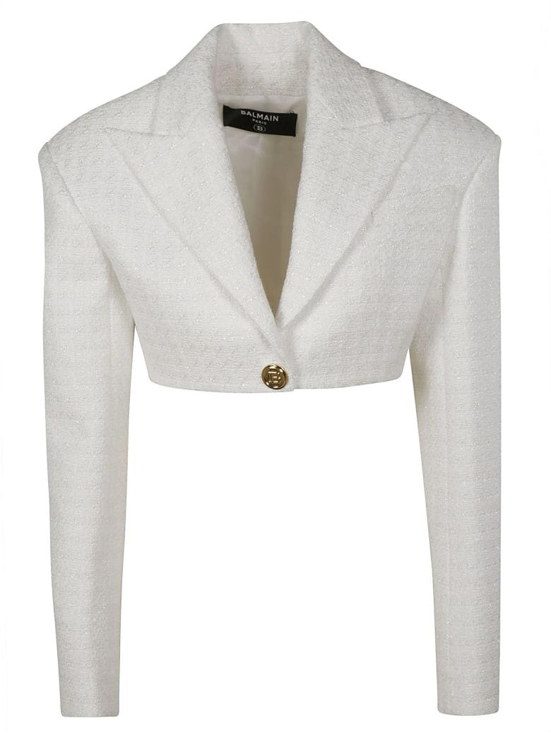 Balmain Single-button Cropped Blazer - White