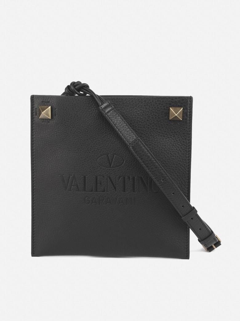 Valentino Garavani Shoulder Bag In Textured Leather - Black