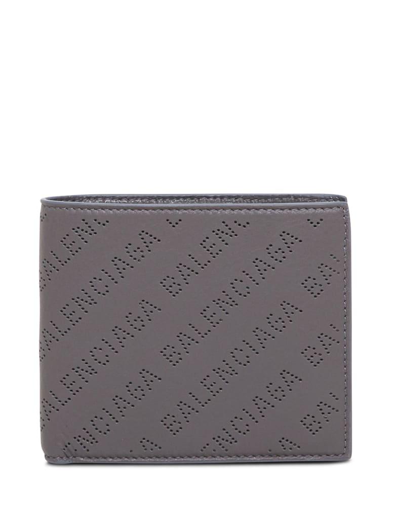 Balenciaga Bifold Grey Leather Wallet With Allover Logo - Grey
