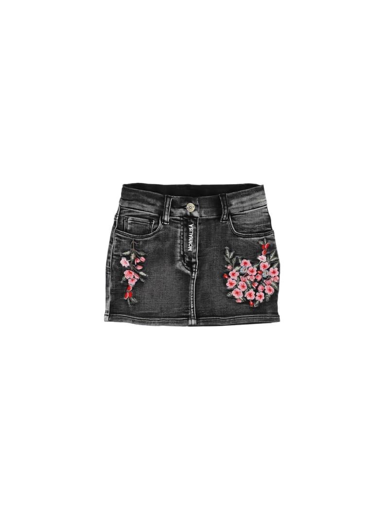 Monnalisa Floral Tulle Skirt - Black