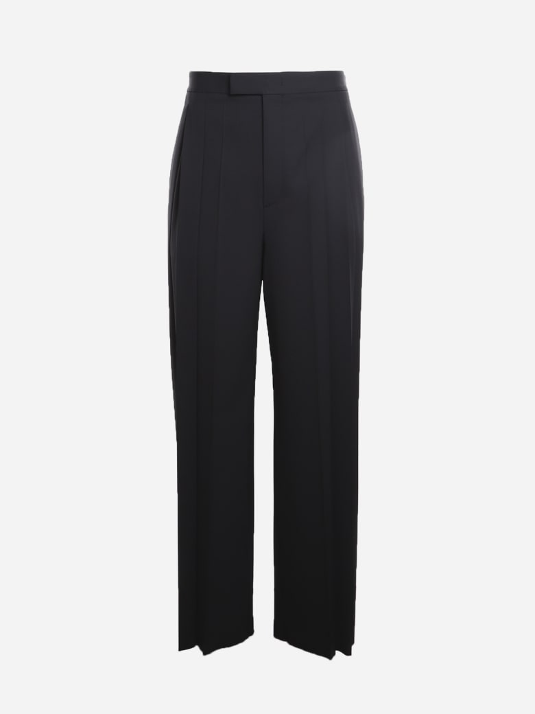 Valentino Wool Trousers With Pleats On The Front - Black
