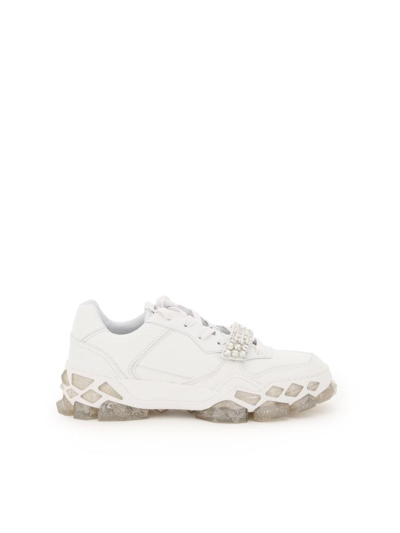 Jimmy Choo Diamond X Strap F Sneakers - WHITE CRYSTAL (White)
