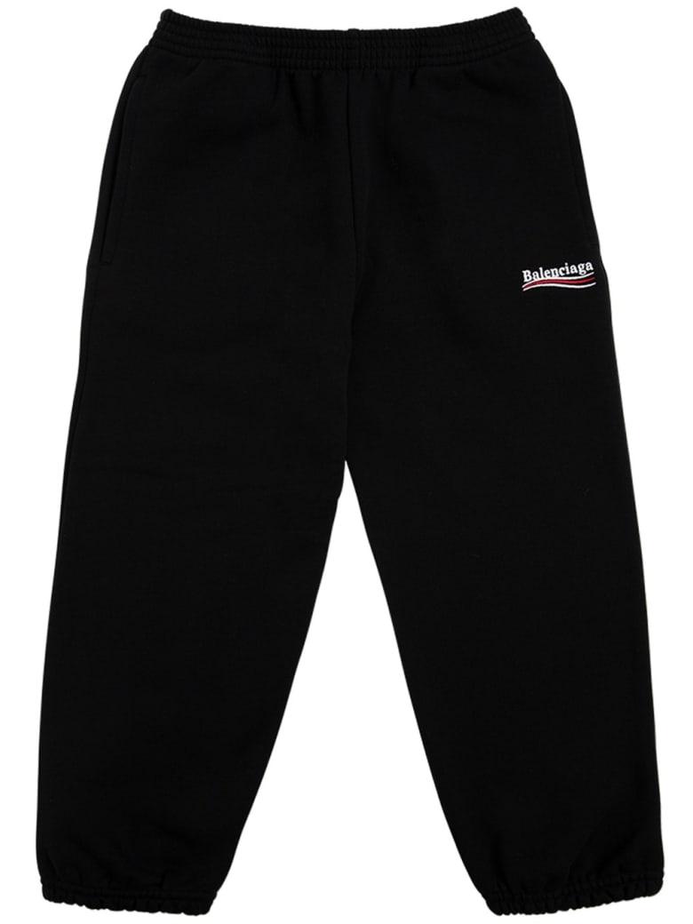 Balenciaga Black Cotton Joggers With Logo Print - Black