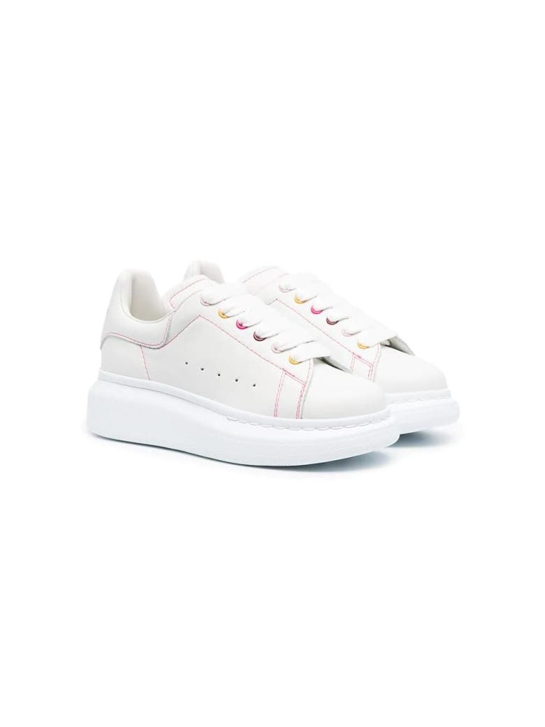 Alexander McQueen Kid White Oversize Sneakers With Multicolor Eyelets