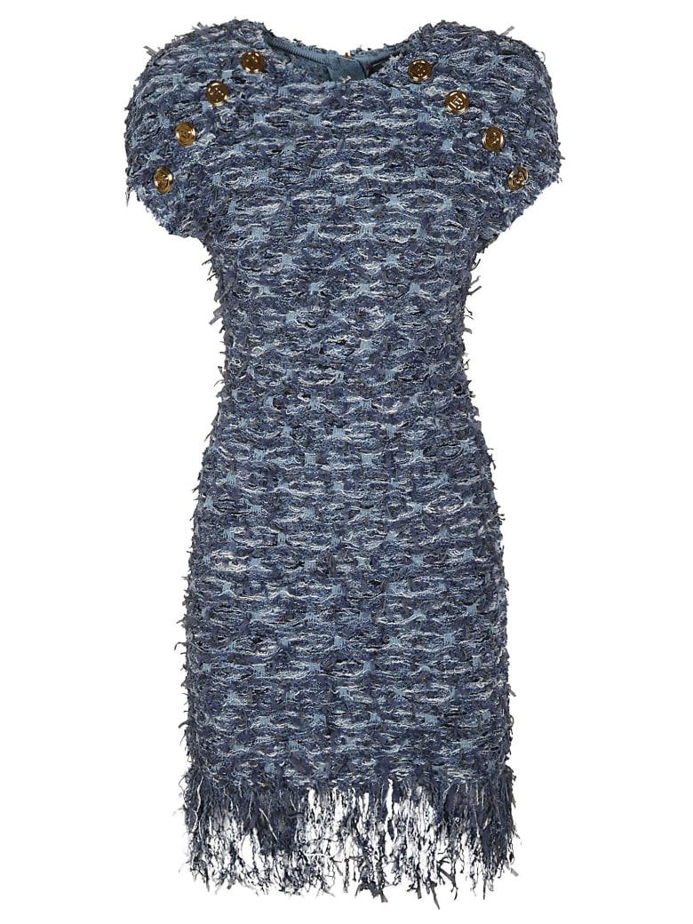 Balmain Button Embellished Tweed Dress - Denim