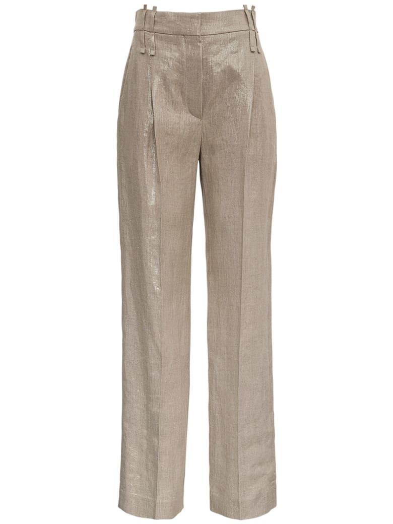 Brunello Cucinelli Tailored Pants In Shiny Linen - Beige