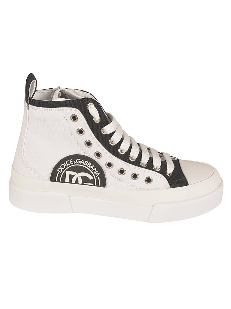 Dolce & Gabbana Logo Patched High-top Sneakers - White/Black