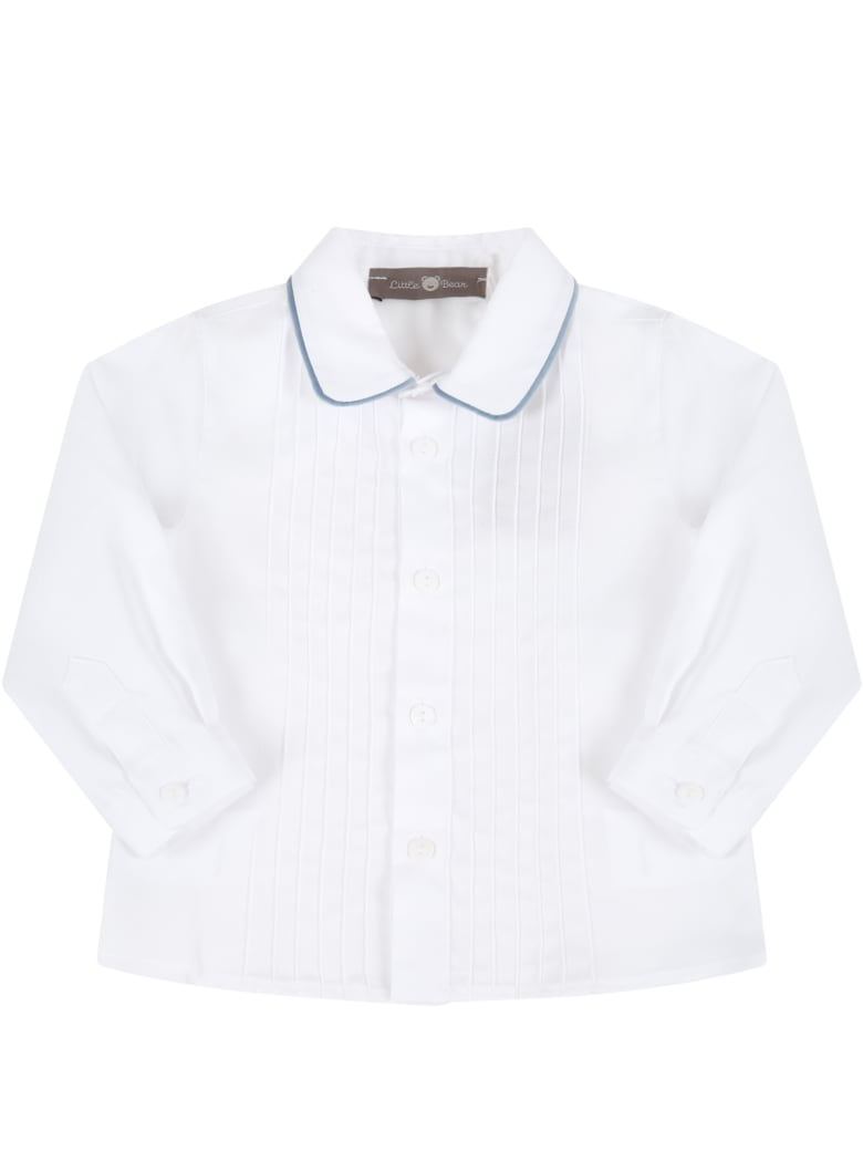 Little Bear White Shirt For Baby Boy With Pleats - White
