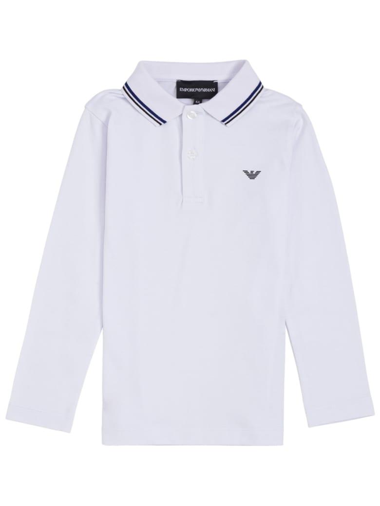 Emporio Armani White Cotton Polo Shirt With Logo - White