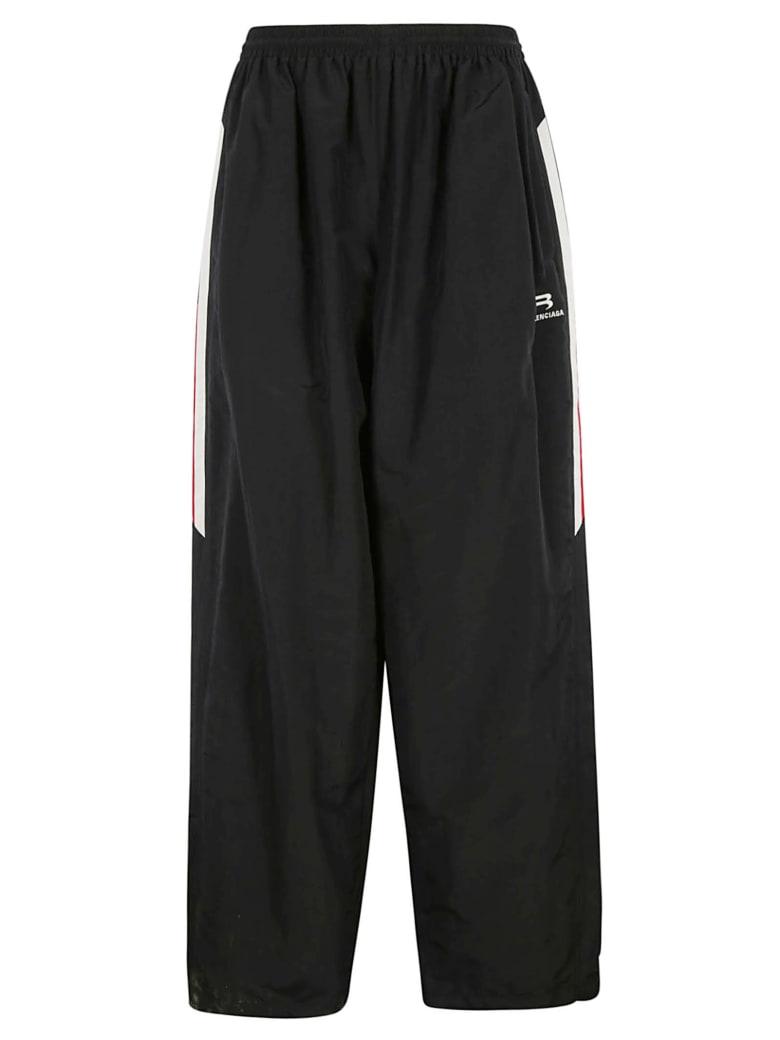 Balenciaga Wide Leg Logo Trousers - Nero