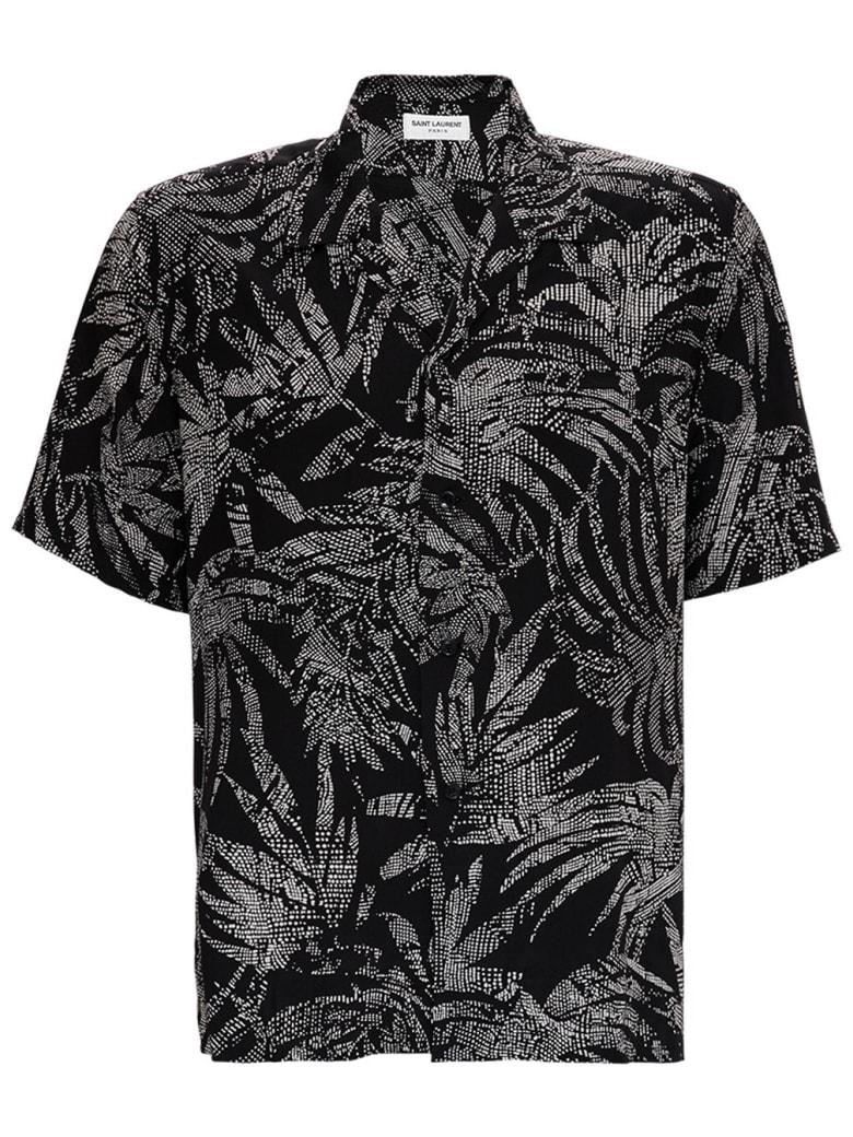 Saint Laurent Viscose Shirt With Tropical Print - Black