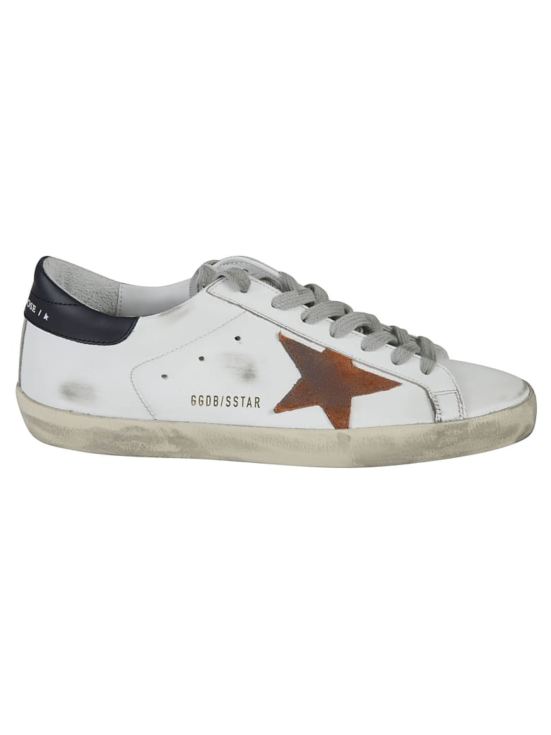 Golden Goose Super-star Classic Sneakers - White/Orange/Dark Blue