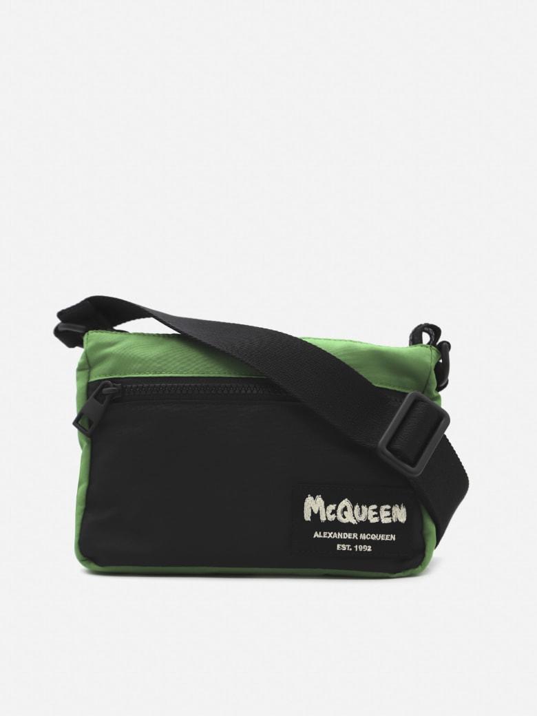 Alexander McQueen Nylon Shoulder Bag With Graffiti Logo Detail - Green, black