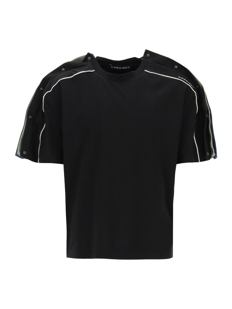 Y/Project Triple T-shirt With Buttons - BLACK MOSS GREEN NAVY (Black)
