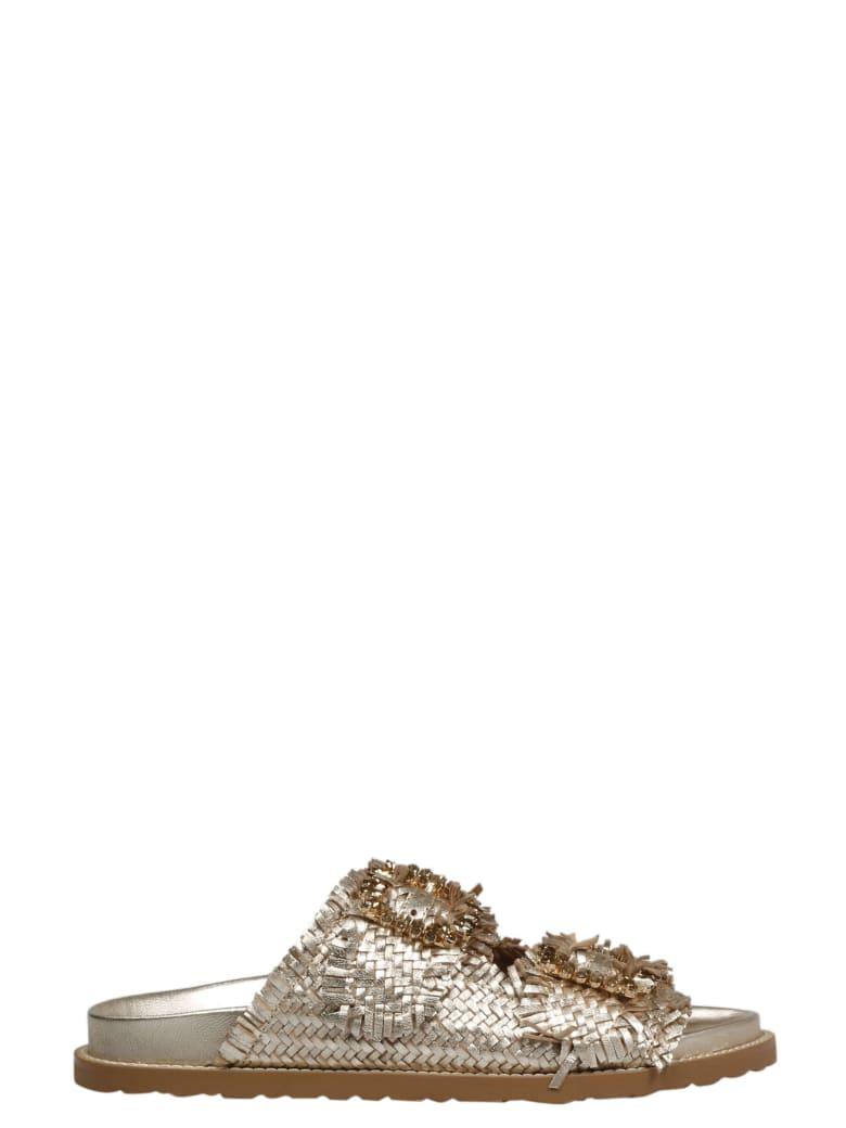 Coral Blue Jewel Buckle Sandals - Metallic