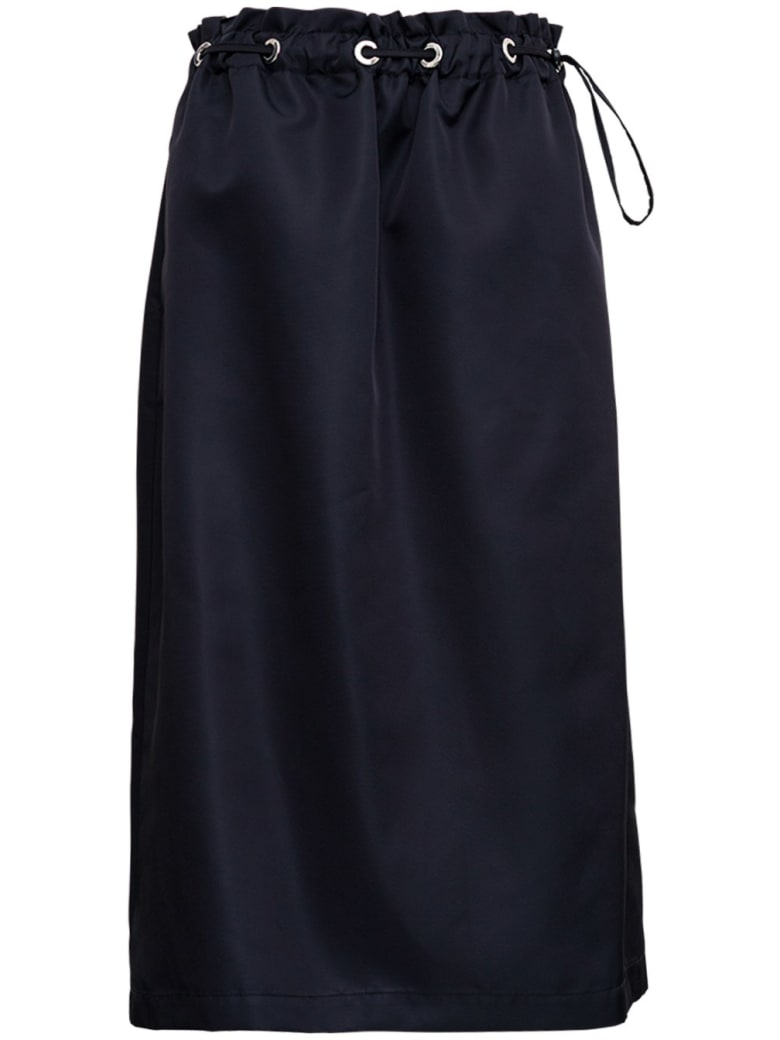 Tessa Black Nylon Skirt With Drawstring - Black