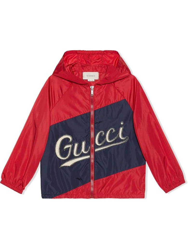 Gucci Nylon Jacket With Gucci Script - Rosso+blu