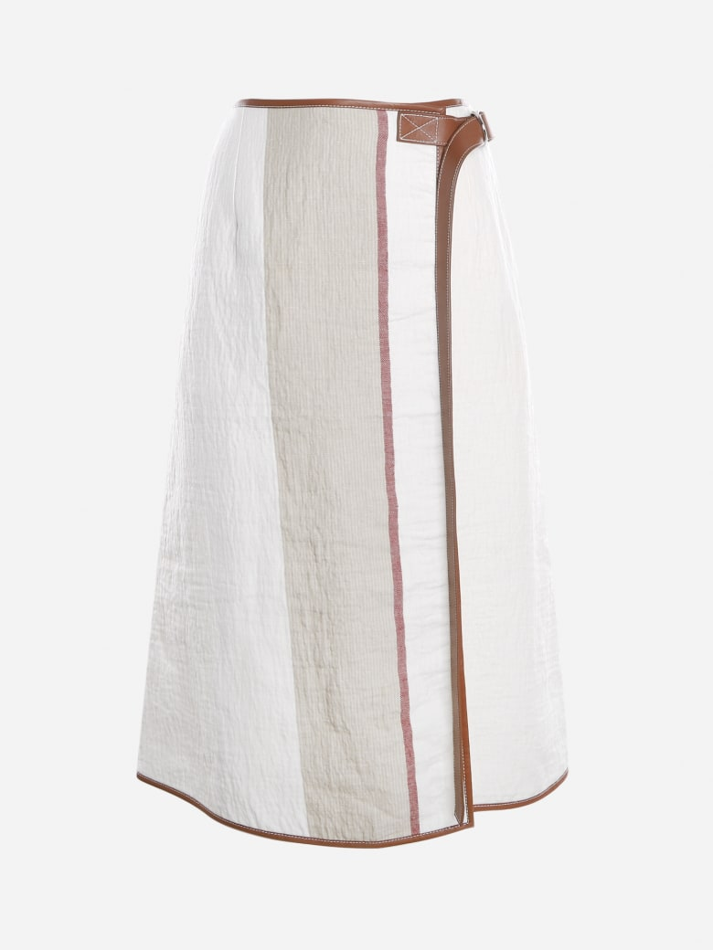 Loewe Wrap Skirt In Linen Blend With Leather Profiles - Ivory