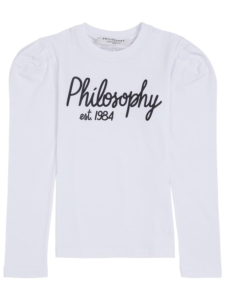 Philosophy di Lorenzo Serafini Kids Long-sleeved Cotton T-shirt With Logo - White