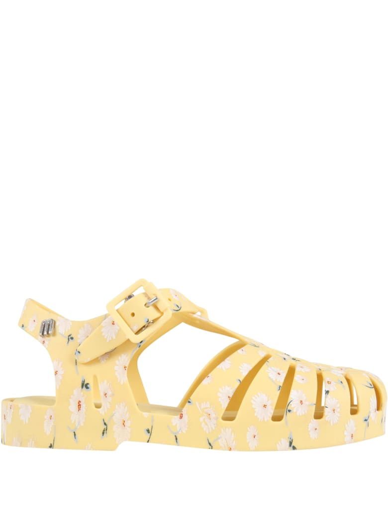 Melissa Yellow Sandals For Girl With Daisies - Yellow