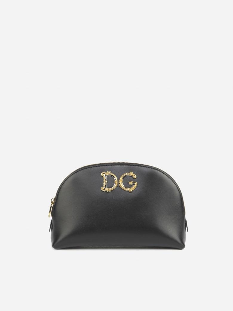 Dolce & Gabbana Necessaire Made Of Calfskin With Baroque Dg Logo - Black