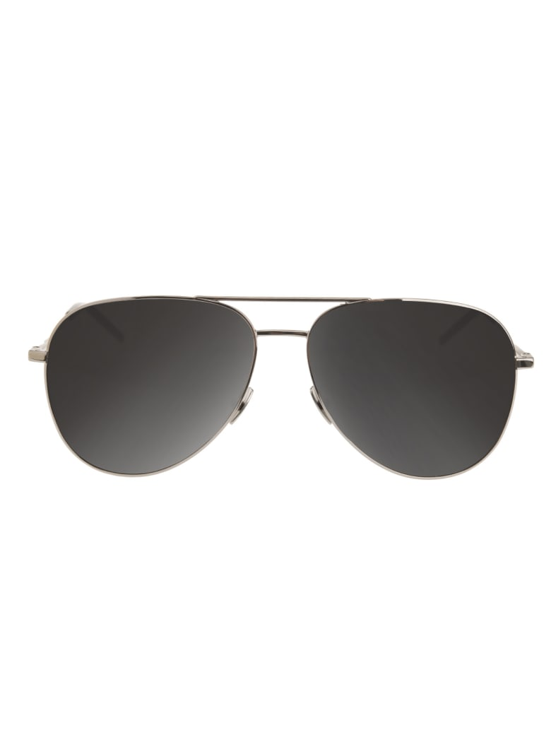 Saint Laurent Silver And Black Classic 11 Sunglasses - Silver smoke