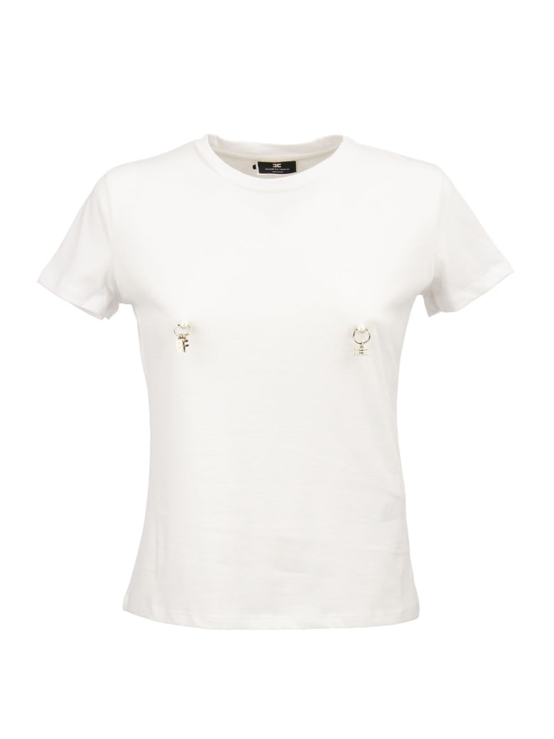 Elisabetta Franchi T-shirt With Piercing Application - White